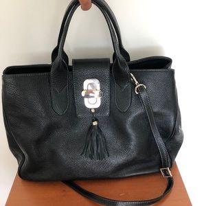 Maxima Italian Designer black leather satchel bag